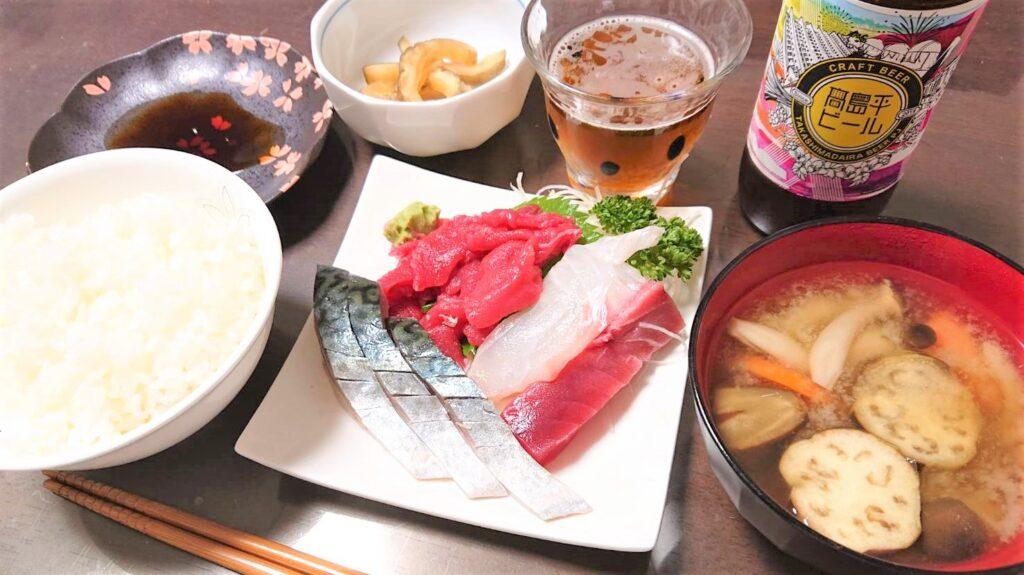 高島平のお刺身定食